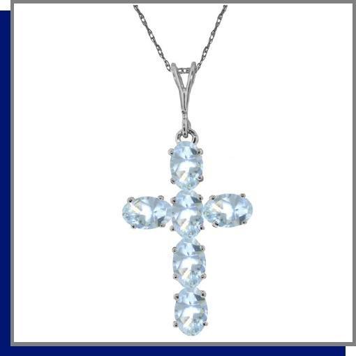 14K White Gold 1.50 CT Aquamarine Cross Necklace