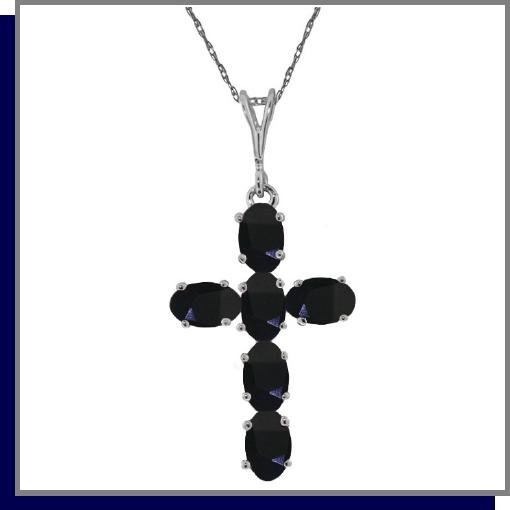 14K White Gold 1.50 CT Sapphire Cross Necklace