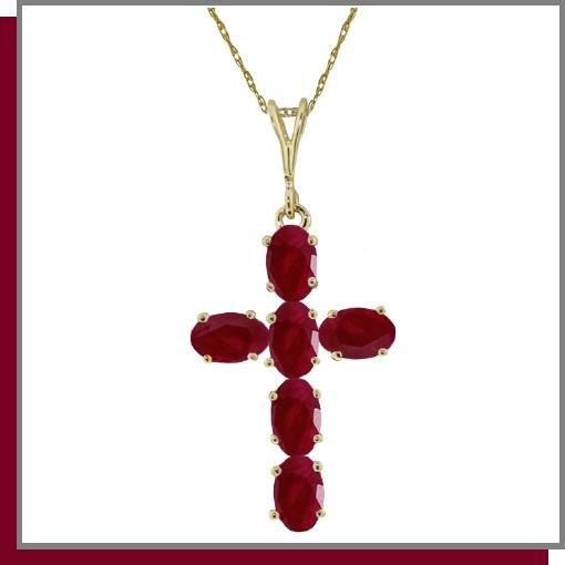14K Yellow Gold 1.50 CT Ruby Cross Necklace