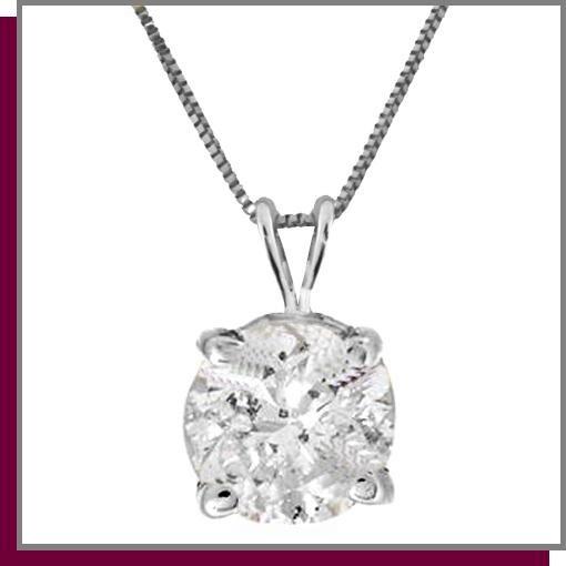 14K White Gold .50 Genuine Diamond Necklace I-3 Clarity
