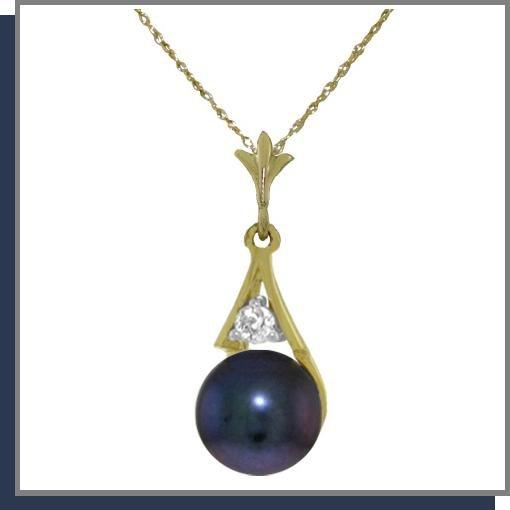 14K Yellow Gold 2.0 CT Black Pearl & Diamond Necklace