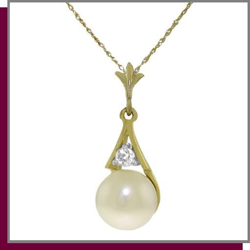 14K Yellow Gold 2.0 CT Pearl & Diamond Necklace