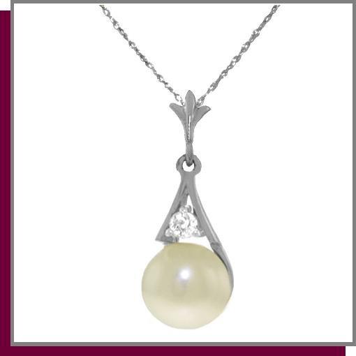 14K White Gold 2.0 CT Pearl & Diamond Necklace