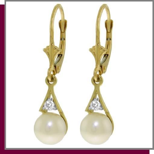 14K Yellow Gold 4.0 CT Pearl & Diamond Dangle Earrings