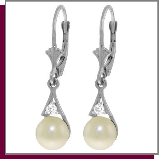 14K White Gold 4.0 CT Pearl & Diamond Dangle Earrings
