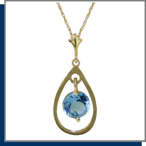 14K Yellow Gold Genuine Blue Topaz Necklace 18""