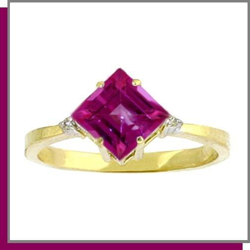 14K Gold 1.75 CT Pink Topaz & Diamond Ring SZ 5 - 9