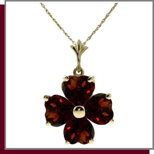 14K 3.80 CT Four Leaf Clover Garnet Necklace