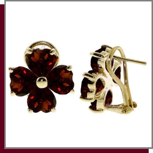 14K Gold 6.50 CT Four Leaf Clover Garnet Clip Post Earrings
