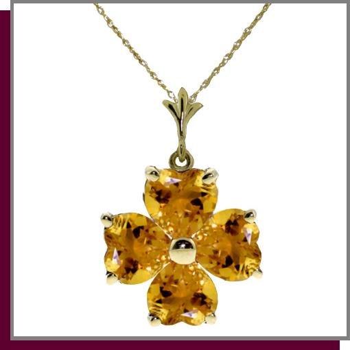 14K 3.80 CT Four Leaf Clover Citrine Necklace pendant