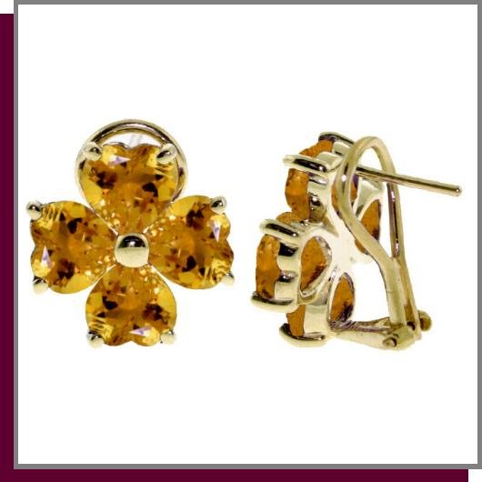 14K 6.50 CT Four Leaf Clover Citrine Clip Post Earrings