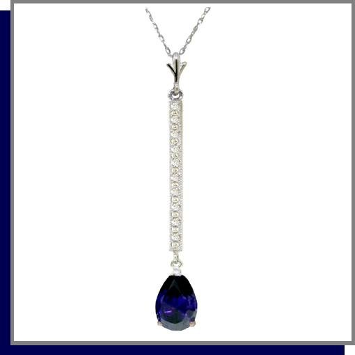 14K White Gold 1.75 CT Sapphire & Diamond Necklace 18""