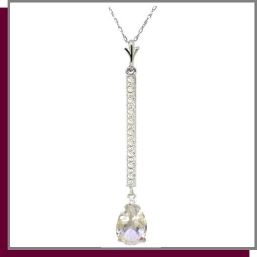 14K White Gold 1.75 CT White Topaz & Diamond Necklace