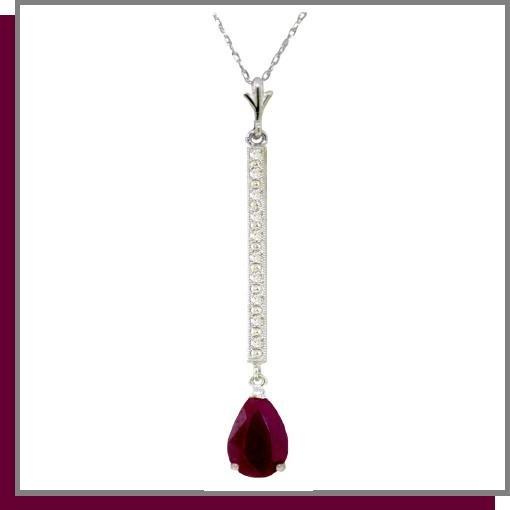 14K White Gold 1.75 CT Ruby & Diamond Necklace