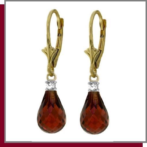 14K 4.50 Briolette Garnet & Diamond Dangle Earrings
