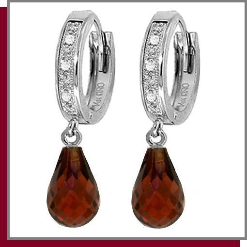 14K White Gold 4.50 Briolette Garnet & Diamond Hoop Drop Earrings