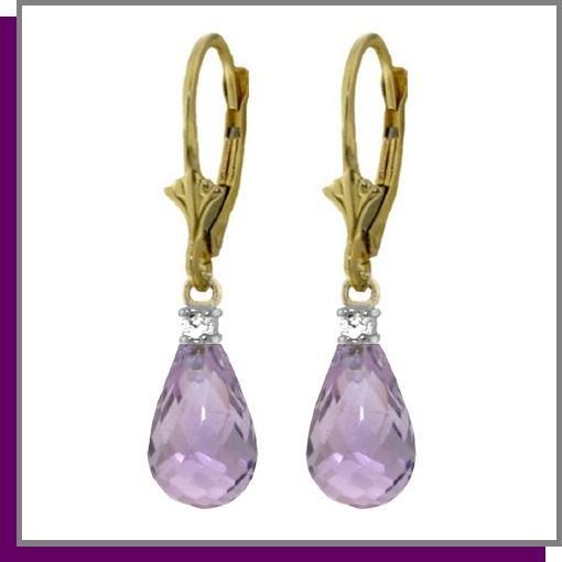 14K Gold 4.50 Briolette Amethyst & Diamond Earrings