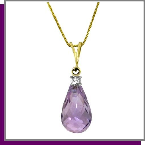 14K Gold 2.25 CT Briolette Amethyst & Diamond Necklace