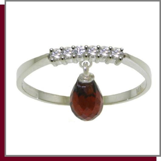 14K Gold 1.35 CT Garnet & Diamond Dangle Ring SZ 5 - 9