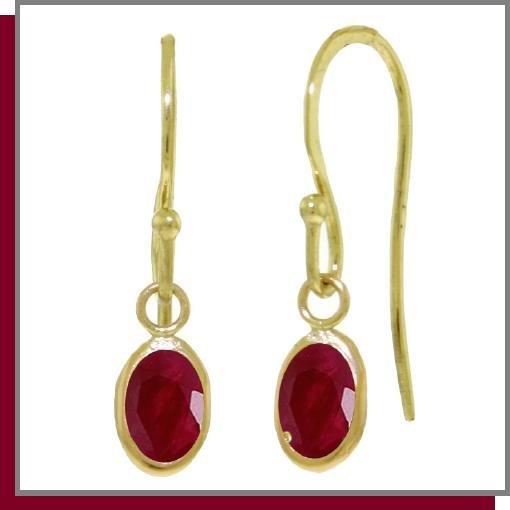 14K Yellow Gold 1.0 CT Oval Ruby Dangle Earrings