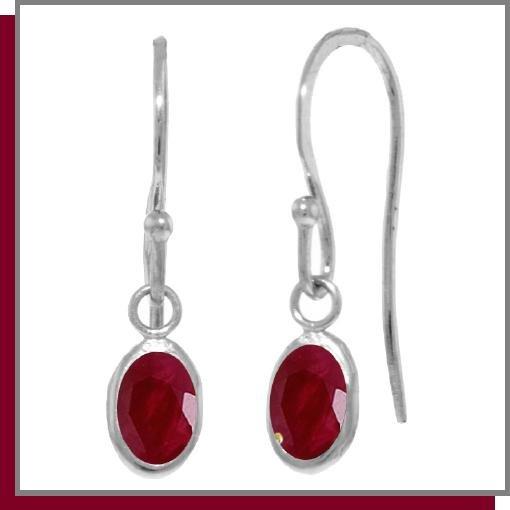 14K White Gold 1.0 CT Oval Ruby Dangle Earrings