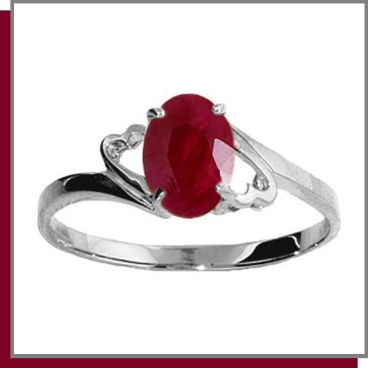 14K White Gold 1.0 CT Oval Ruby Ring SZ 5 - 9