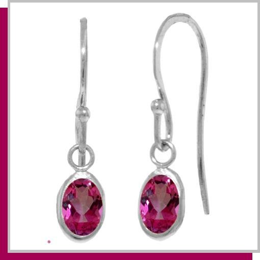 14K White Gold 1.0 CT Oval Pink Topaz Dangle Earrings