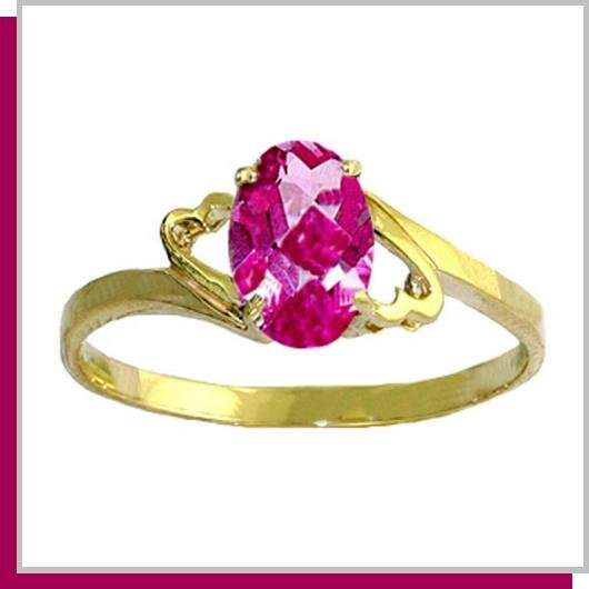 14K Yellow Gold 1.0 CT Oval Pink Topaz Ring SZ 5 - 9