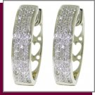 10K Solid White Gold Hoop Huggie Diamond Earrings