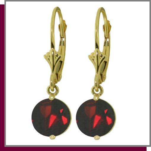 14K Solid Yellow Gold 3.0 CT Garnet Dangle Earrings