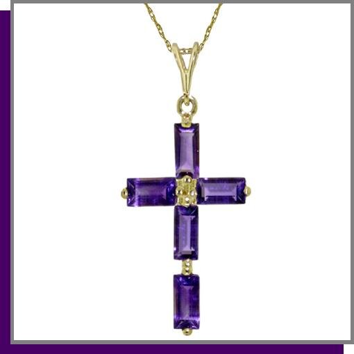 14K Yellow Gold 1.0 CT Baguette Amethyst Cross Necklace