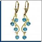 14K Solid Gold 5.0 CT Blue Topaz Chandelier Earrings
