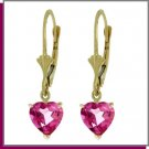 14K Gold 3.25 CT Heart Pink Topaz Dangle Earrings