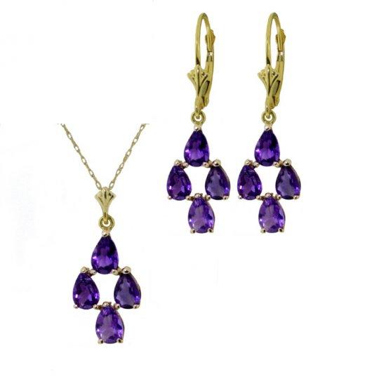 14K 4.5 CT Pear Amethyst Necklace & Earrings Set