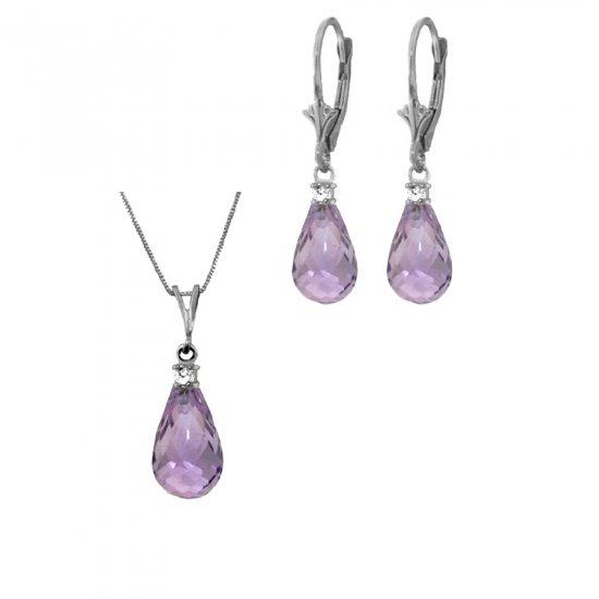 14K 6.75 CT Briolette Amethyst & Diamond Necklace & Earrings Set