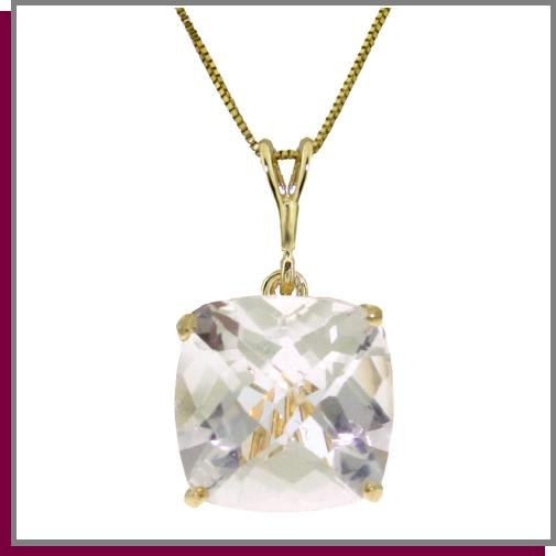14K Gold 3.60 CT Faceted Natural White Topaz Necklace