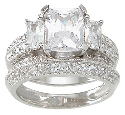 2.0 CT Emerald Cut Sterling Silver Wedding Ring Set