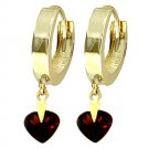 14K 1.50 CT Heart Garnet Hoop Drop Huggie Earrings