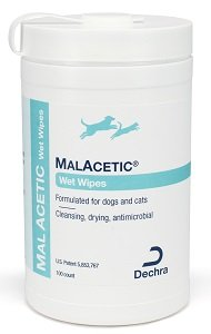 MalAcetic Medicated Wet Wipes Dry Bath for Pets 100 count