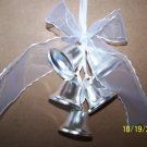 Bells Metal Silver 5 pc Wedding Bells w/Ribbon