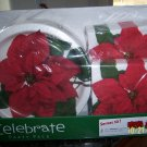 Christmas Party Pack 50 Poinsettia Plates Napkins NEW