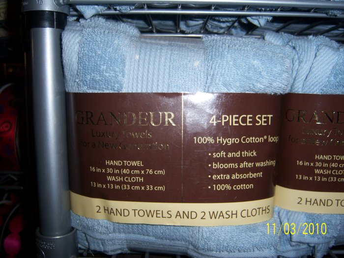 Grandeur Luxury Towels 4 pc Powder Blue NEW