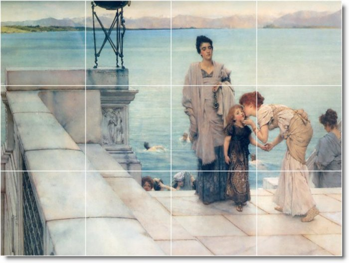 Alma-Tadema Mother Child Tile Mural Dining Room Decor Floor