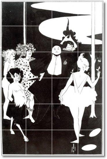 Beardsley Illustration Mural Backsplash Tile Wall Floor Design