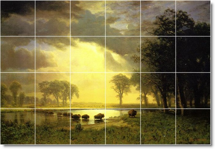 Bierstadt Landscapes Mural Living Room Floor Design Residential