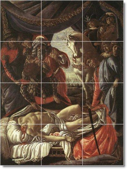 Botticelli Historical Mural Bathroom Tile Renovate Traditional