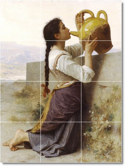 Bouguereau Women Backsplash Mural Kitchen Tile Residential Art