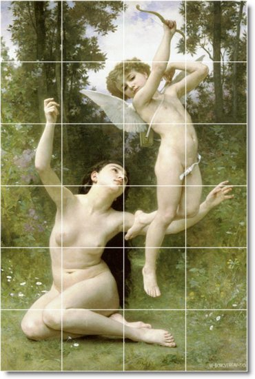 Bouguereau Nudes Tile Room Mural Dining House Remodeling Ideas