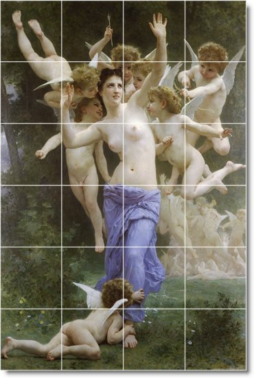 Bouguereau Nudes Mural Dining Room Tile Remodeling Ideas House