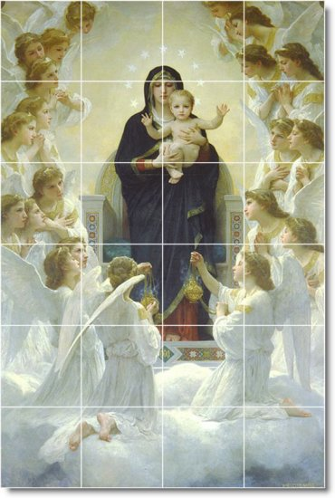 Bouguereau Mother Child Mural Tiles Living Room Wall Home Design
